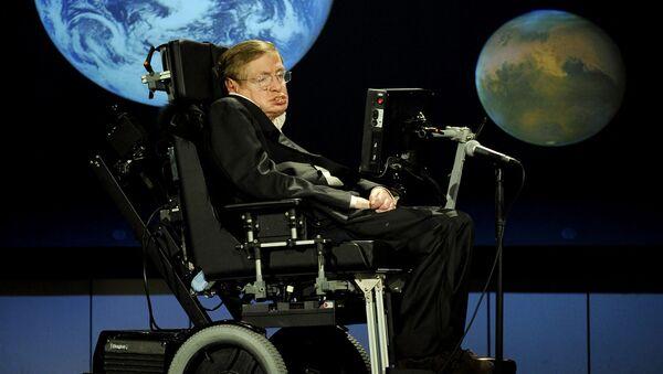 Выступление профессора математики Кембриджского университета, доктор Стивен Хокинг на лекции, посвященной 50-летию НАСА (21 апреля 2008). Вашингтон - Sputnik Армения