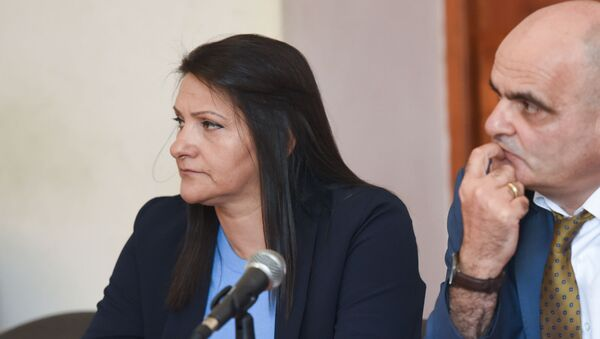 Назик Амирян и адвокат Левон Багдасарян на судебном заседании по делу генерала Манвела Григоряна и его супруги Назик Амирян (4 июня 2019). Еревaн - Sputnik Армения