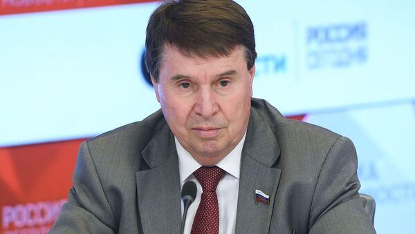 Член Совета Федерации Сергей Цеков во время видеомоста Москвa-Симферополь (11 марта 2019). Москвa - Sputnik Արմենիա