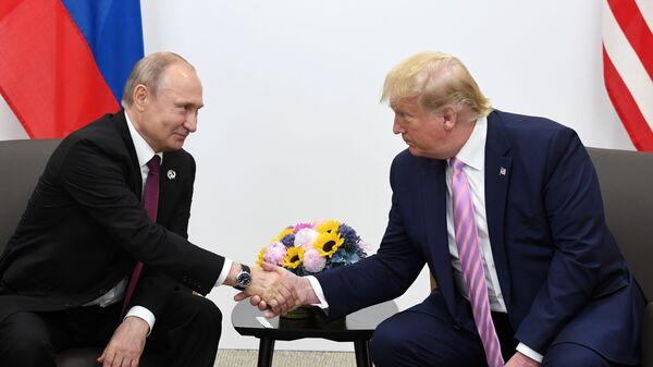 Встреча президентов России и США Владимира Путина и Дональда Трампа на полях саммита G20 (28 июня 2019). Осака - Sputnik Армения
