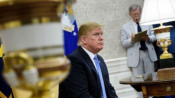 Президент США Дональд Трамп и советник по национальной безопасности Джон Болтон перед встречей с премьер-министром Нидерландов Марком Рютте (2 июля 2018). Вашингтон - Sputnik Армения