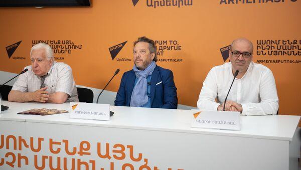 Пресс-конференция по теме начала подготовки к премьерной постановке оперы Тигран Великий (1 августа 2019). Еревaн - Sputnik Արմենիա