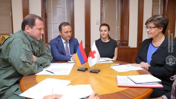Встреча министра обороны Армении Давида Тонояна с представителями делегации МККК в Армении (7 августа 2019). Ереван - Sputnik Армения