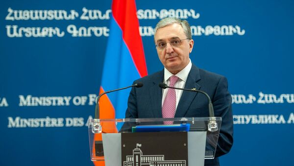 Министр иностранных дел Армении Зограб Мнацаканян во время пресс-конференции с главой МИД Уругвая (14 августа 2019). Еревaн - Sputnik Армения
