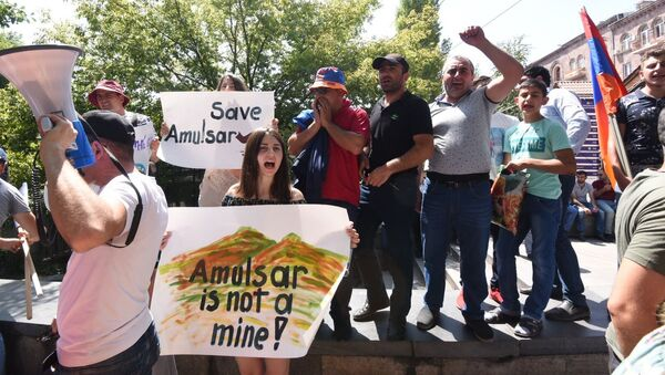Участники акции протеста против разработки Амулсарского месторождения (18.08.2019) Еревaн - Sputnik Армения
