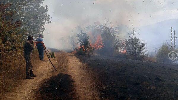 Военнослужащие армянской армии помогают спасателям МЧС при тушении лесных пожаров (27 августа 2019). Капан - Sputnik Армения
