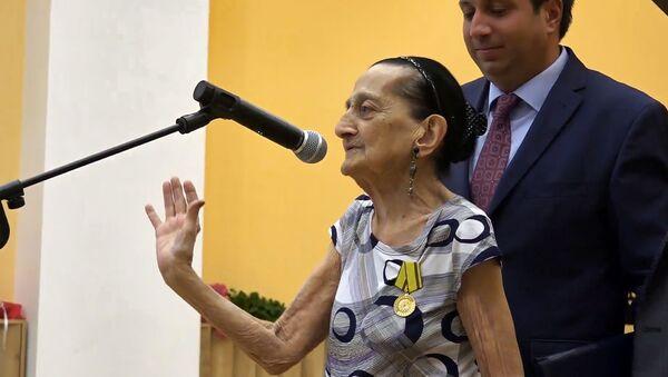 Слова благодарности старейшего педагога Армении Мариам Тонян во время мероприятия в ее честь (30 августа 2019). Еревaн - Sputnik Армения