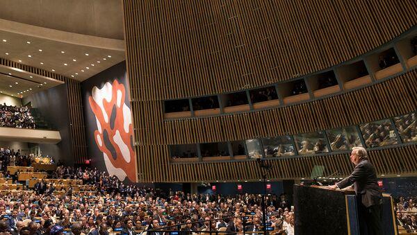 Генсек ООН Антониу Гутерриш на открытии общих прений 74-й Генеральной Ассамблеи ООН (24 сентября 2019). Нью-Йорк - Sputnik Արմենիա