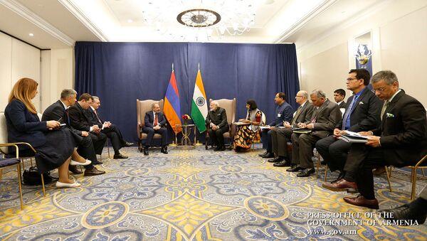 Встреча премьер-министров Армении и Индии Никола Пашиняна и Нарендры Моди (26 сентября 2019). Нью-Йорк - Sputnik Արմենիա