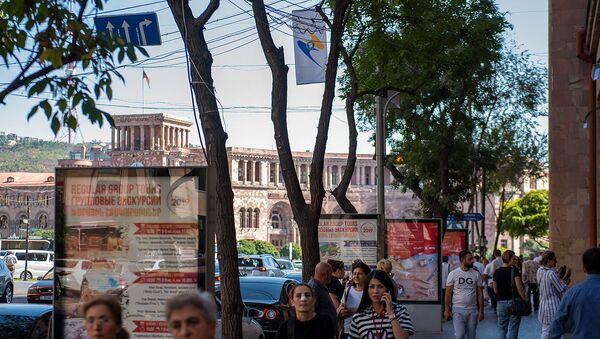 Флаги стран-участниц ЕАЭС на улице Амиряна (30 сентября 2019). Еревaн - Sputnik Արմենիա