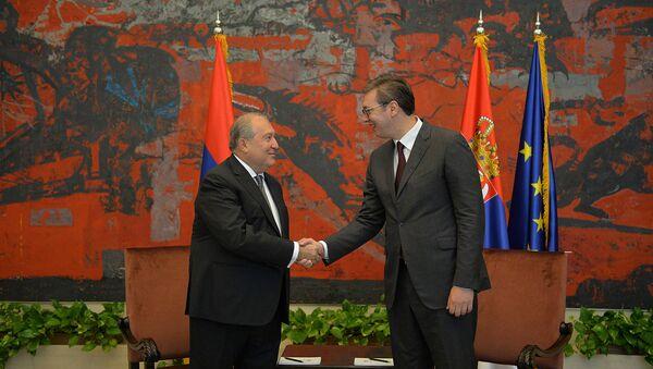 Церемония встречи официального визита президента Армении Армена Саркисяна в Сербию (4 октября 2019). Белград - Sputnik Արմենիա