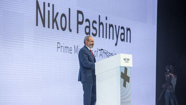 Выступление премьер-министра Никола Пашиняна на открытии WCIT 2019 (7 октября 2019). Еревaн - Sputnik Армения
