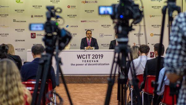 Вице-премьер Тигран Авинян на пресс-конференции во время открытия WCIT 2019 (7 октября 2019). Ереван - Sputnik Армения