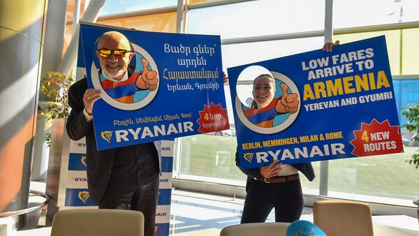 Пресс-конференция компании Ryanair в аэропорту Звартноц (16 октября 2019). Еревaн - Sputnik Արմենիա