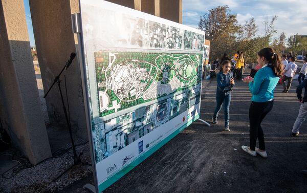 Схема будущего парка Дружбы перед церемонией презентации парка (17 октября 2019). Гюмри - Sputnik Армения