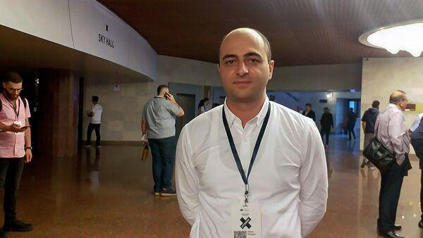Руководитель научных разработок в компании Krisp Степан Саркисян на форуме WCIT (9 октября 2019). Еревaн - Sputnik Արմենիա