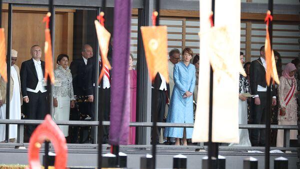 Президент Армении Армен Саркисян с супругой Нунэ Саркисян на торжественной церемонии интронизации императора Японии (22 октября 2019). Токио - Sputnik Արմենիա