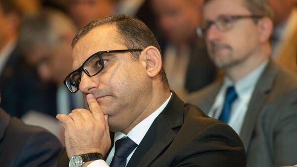 Министр экономики Тигран Хачатрян на VII международном форуме Антиконтрафакт (12 ноября 2019). Еревaн - Sputnik Армения
