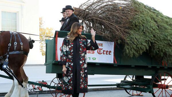 Первая леди США Мелания Трамп получает рождественскую елку Белого дома 2019 года от ферм долины Махантонго (25 ноября 2019). Вашингтон - Sputnik Արմենիա