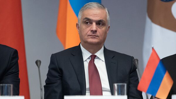 Вице-премьер Армении Мгер Григорян на совместном заседании контрольных палат стран Евразийского союза (28 ноября 2019). Еревaн - Sputnik Армения