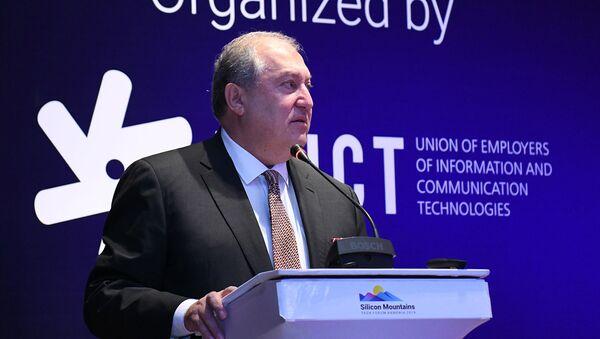 "Президент Армен Саркисян на технологической конференции ""Silicon Mountains"" (4 декабря 2019).  Еревaн - Sputnik Армения"