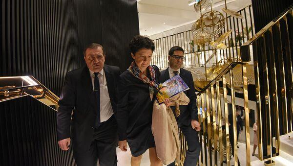 Министры юстиции Армении и Грузии Рустам Бадасян и Тея Цулукиани после третйего форума армяно-грузинского юридического сотрудничества (9 декабря 2019). Еревaн - Sputnik Армения