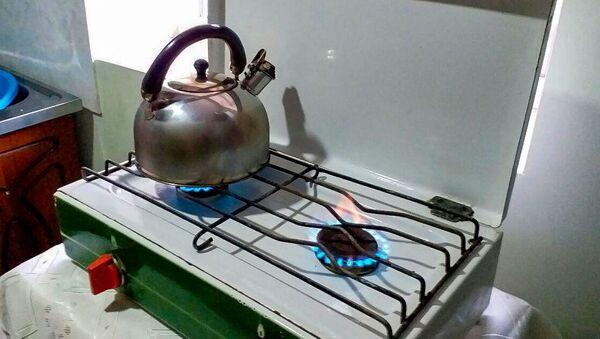 Плита, горящая на биогазе в селе Памбак, Гегаркуник - Sputnik Արմենիա