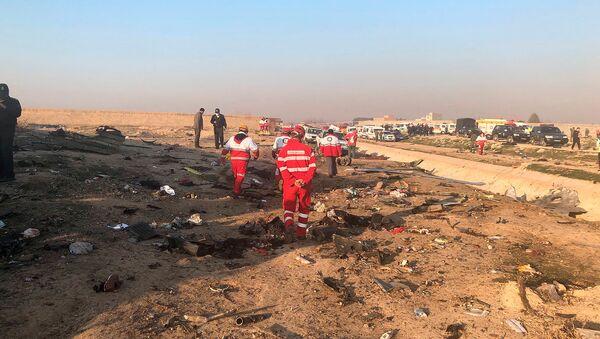 Спасатели у обломков потерпевшего крушение украинского самолета с 176 пассажирами возле аэропорта Имама Хомейни (8 января 2020). Тегеран - Sputnik Армения