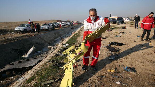 Спасательные команды извлекают обломки с поля крушения украинского самолета (8 января 2020). Тегеран - Sputnik Армения