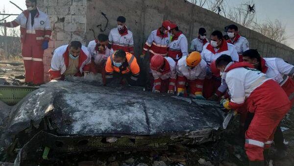 Спасатели на месте крушения украинского самолета возле аэропорта Имама Хомейни (8 января 2020). Тегеран - Sputnik Արմենիա