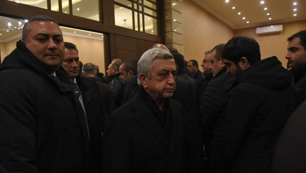 Серж Саргсян на панихиде Георгия Кутояна (19 января 2020). Еревaн - Sputnik Армения