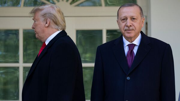 Президенты США Дональд Трамп уходит в Овальный кабинет после церемонии фотографирования с президентом Турции Реджепом Тайипом Эрдоганом (13 ноября 2019). Вашингтон - Sputnik Армения