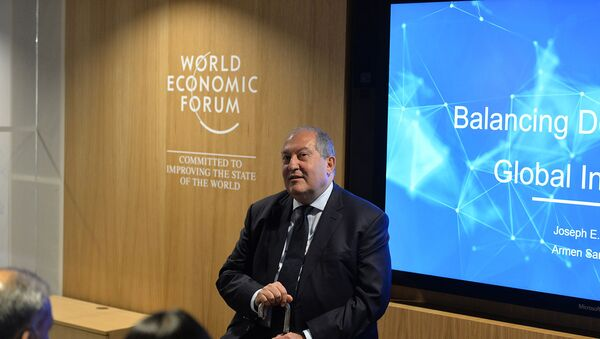 Президент РА Армен Саркисян на Всемирном экономическом форуме (21 января 2020). Давос - Sputnik Արմենիա
