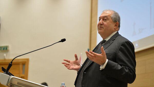 Президент Армении Армен Саркисян выступает с лекцией в Технологическом университете Холона (24 января 2020). Холон, Израиль - Sputnik Արմենիա