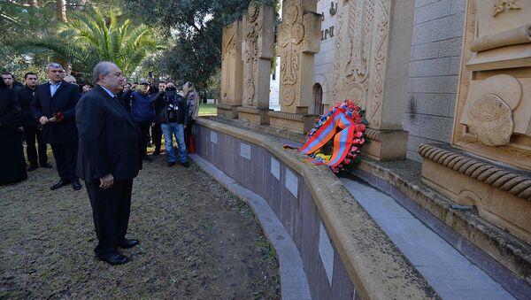 Президент Армении Армен Саркисян посетил Собор Святого Иакова (25 января 2020). Иерусалим - Sputnik Արմենիա