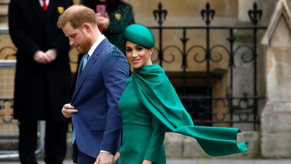 Британский принц Гарри и Меган, герцогиня Сассекская, прибывают на ежегодную службу Содружества в Вестминстерское аббатство (9 марта 2020). Лондон - Sputnik Армения