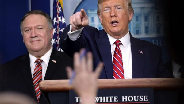 Президент США Дональд Трамп (справа) и госсекретарь Майк Помпео во время брифинга по коронавирусу (20 марта 2020). Вашингтон - Sputnik Армения