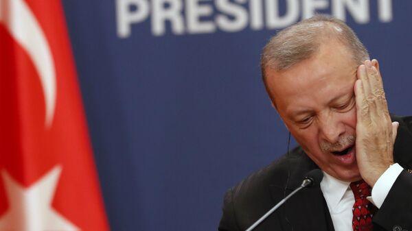 Президент Турции Реджеп Тайип Эрдоган на пресс-конференции (7 октября 2019). Белград, Сербия - Sputnik Արմենիա