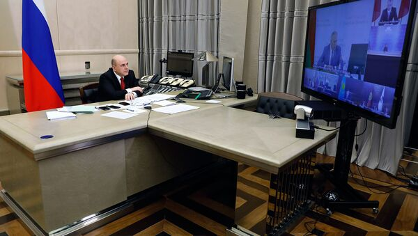 Премьер-министр России Михаил Мишустин во время межправительственного совета ЕЭК (10 апреля 2020). Москвa - Sputnik Արմենիա