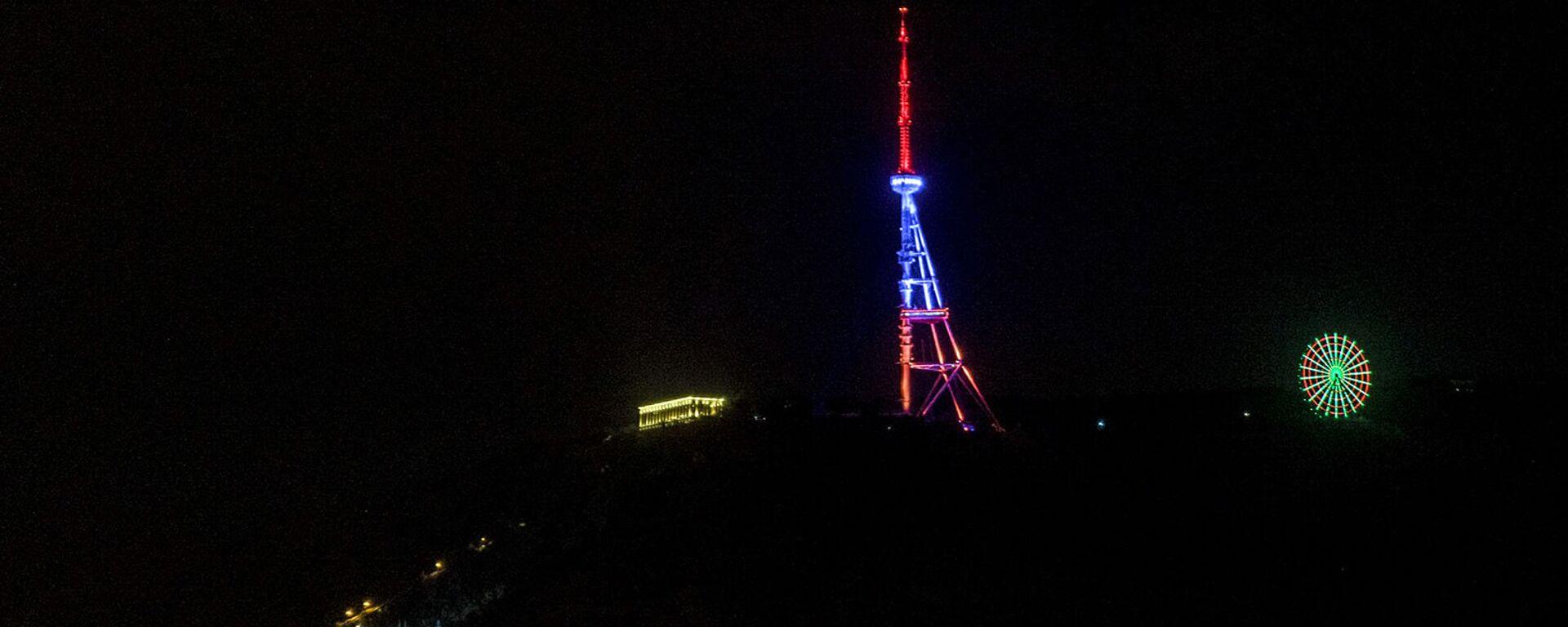 Телебашня в Тбилиси окрасилась в цвета армянского флага (21 апреля 2020). Тбилиси - Sputnik Армения, 1920, 21.09.2021