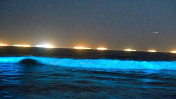 Неоново-синие волны на берегу Ньюпорт-Бич - Sputnik Արմենիա
