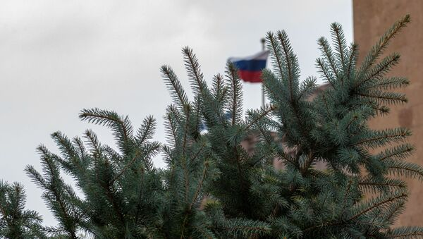 Посадка ели ко Дню Великой Победы во дворе посольства России в Армении (5 мая 2020). Еревaн - Sputnik Արմենիա