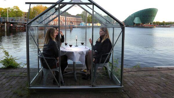 Модели тестируют ресторан в формате «карантинных теплиц» в Амстердаме - Sputnik Армения