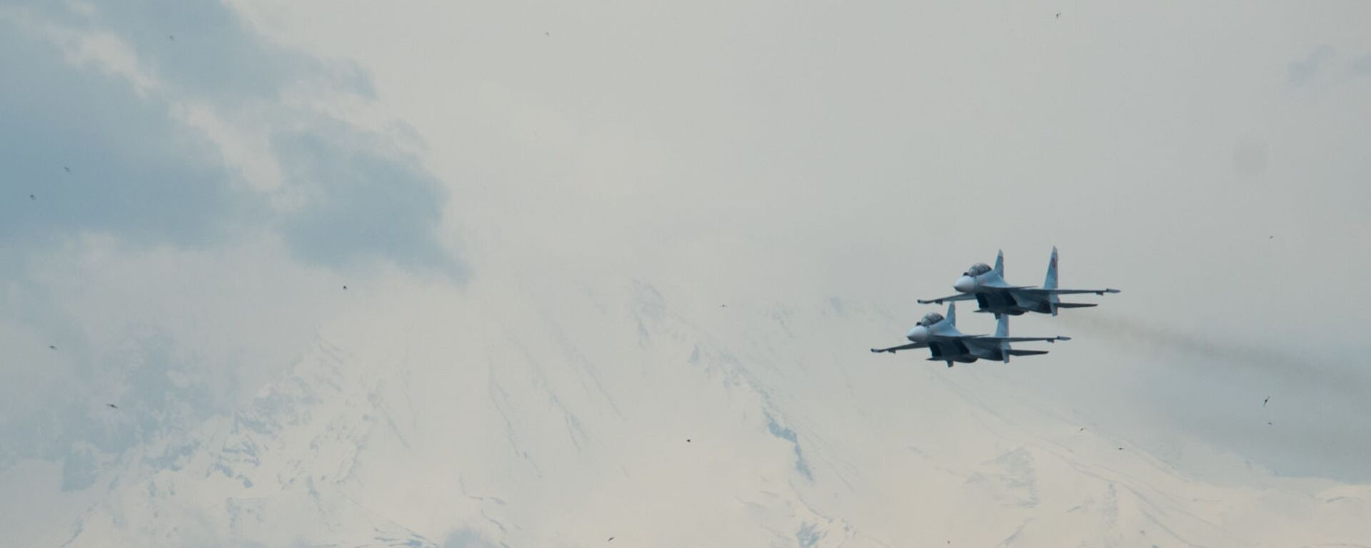 Истребители Су-30СМ пролетают над парком Победы на авиапараде (9 мая 2020). Еревaн - Sputnik Արմենիա, 1920, 25.03.2021