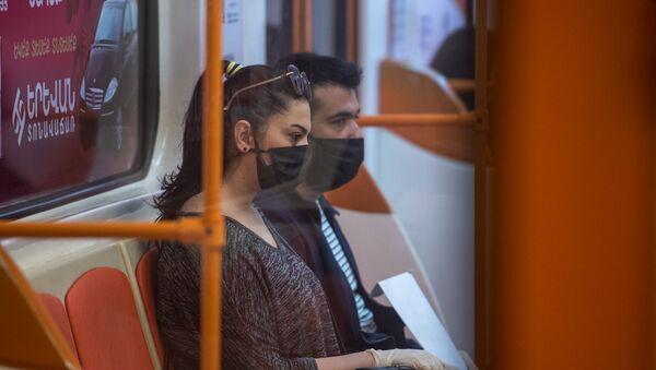 Метрополитен в период пандемии после введения масочного режима (18 мая 2020). Еревaн - Sputnik Արմենիա