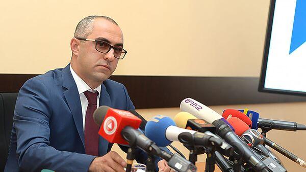 Заместитель председателя КГД Эдвард Ованнисян во время пресс-конференции (13 августа 2019). Еревaн - Sputnik Արմենիա