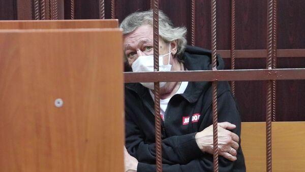 Актер Михаил Ефремов в Таганском районном суде, снимок с видео (9 июня 2020). Москвa - Sputnik Армения