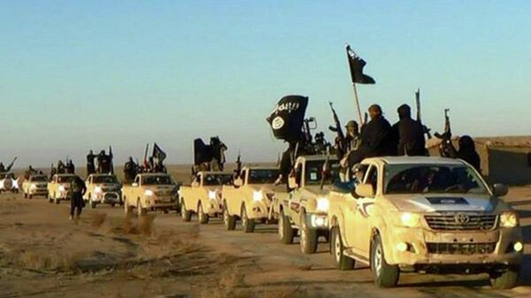 Колонна автомобилей с боевиками Исламского государства на пути из Сирии в Ирак. Архивное фото - Sputnik Армения
