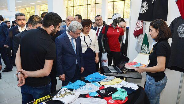 Президент Армении Серж Саргсян побывал на выставке Новые перспективы для сирийских армян - Sputnik Արմենիա