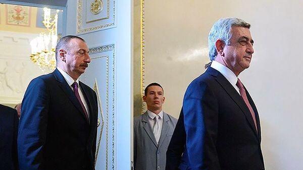 Встреча президентов Армении и Азербайджана Сержа Саргсяна и Ильхама Алиева - Sputnik Армения